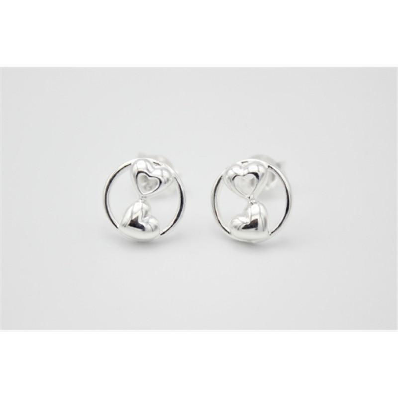 Hjerte og cirkel ørestikker, sølv