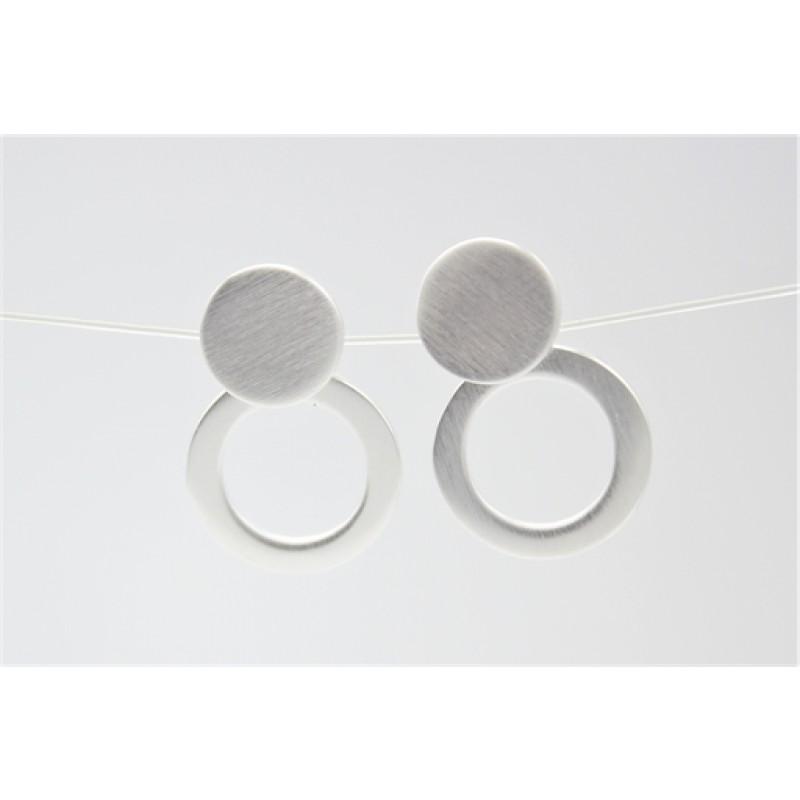 Sølv ørehængere med matteret cirkler