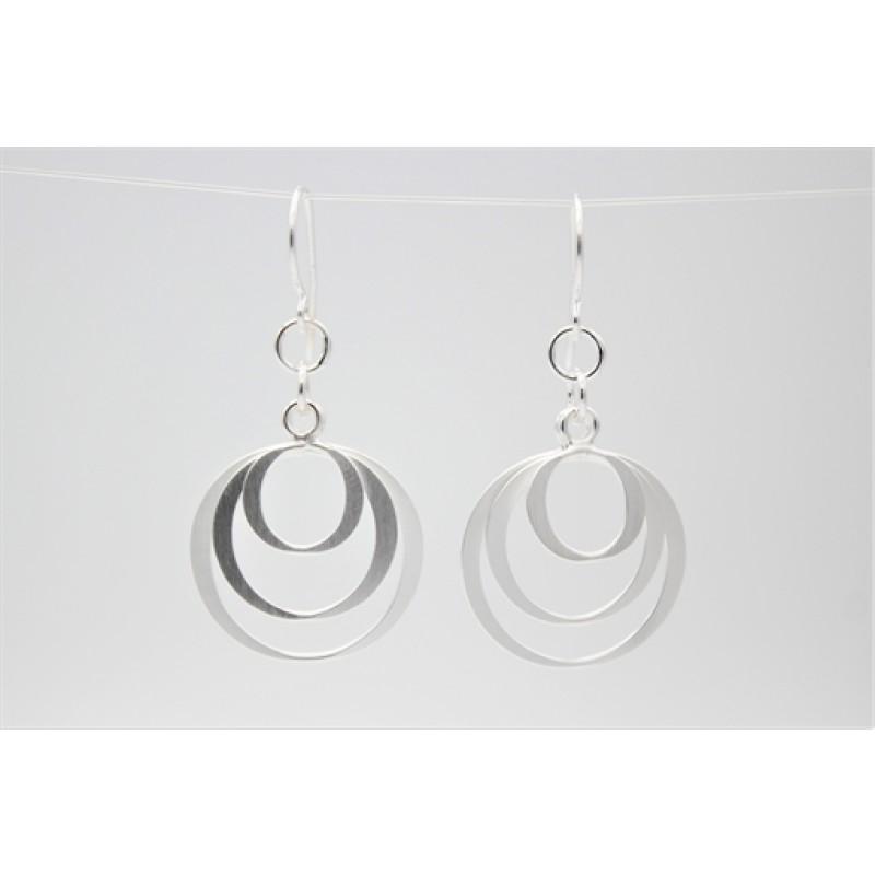 cirkel ørehængere, sølv