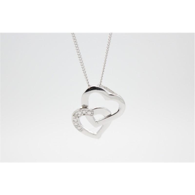 Sammensatte hjerter, sølv halskæde