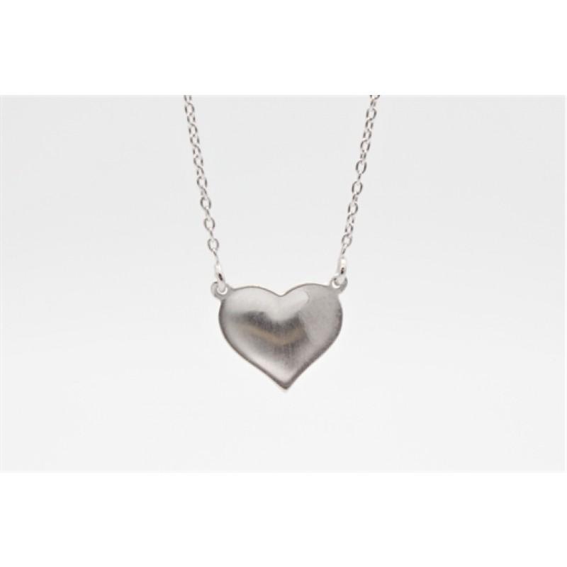 Valentine halskæde, sølv, buet