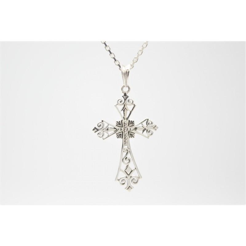 Kors med unikt mønster, vedhæng i sølv