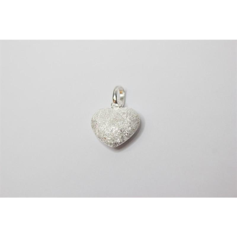 Sølv hjerte vedhæng, sandblæst