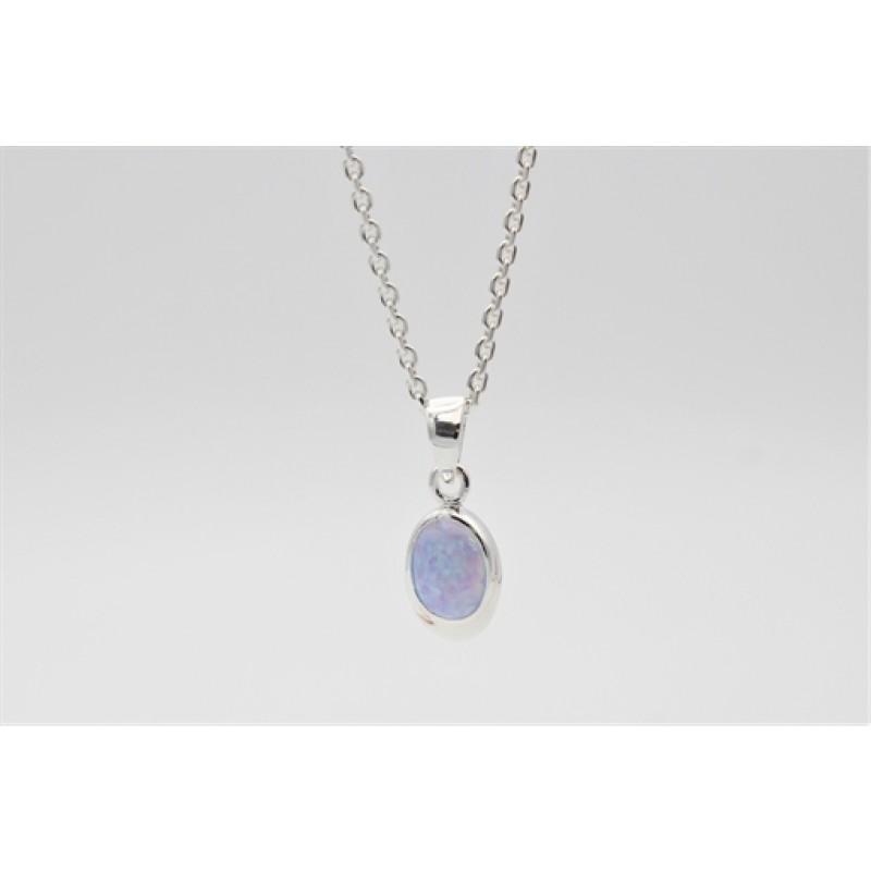 Halskæde, sølv, syn. blå opal