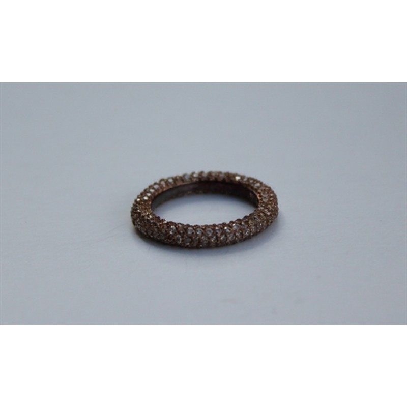 AAGAARD forgyldt ring paveret med syn. zirk.