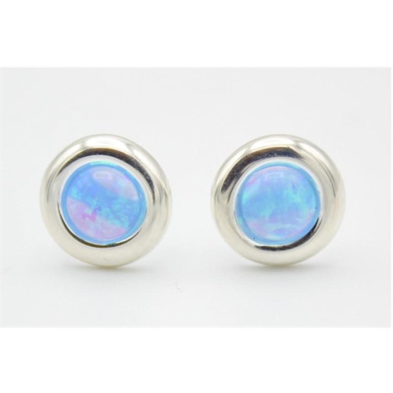 Synt. blå opal sølv ørestikker