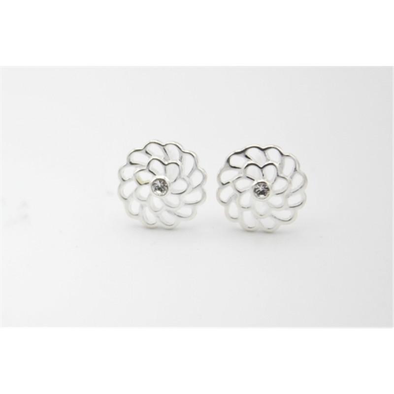 Blomst og zirkonia sølv ørestikker