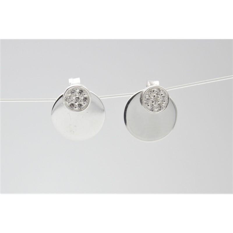 Sølv ørehængere med cirkler og zirk.