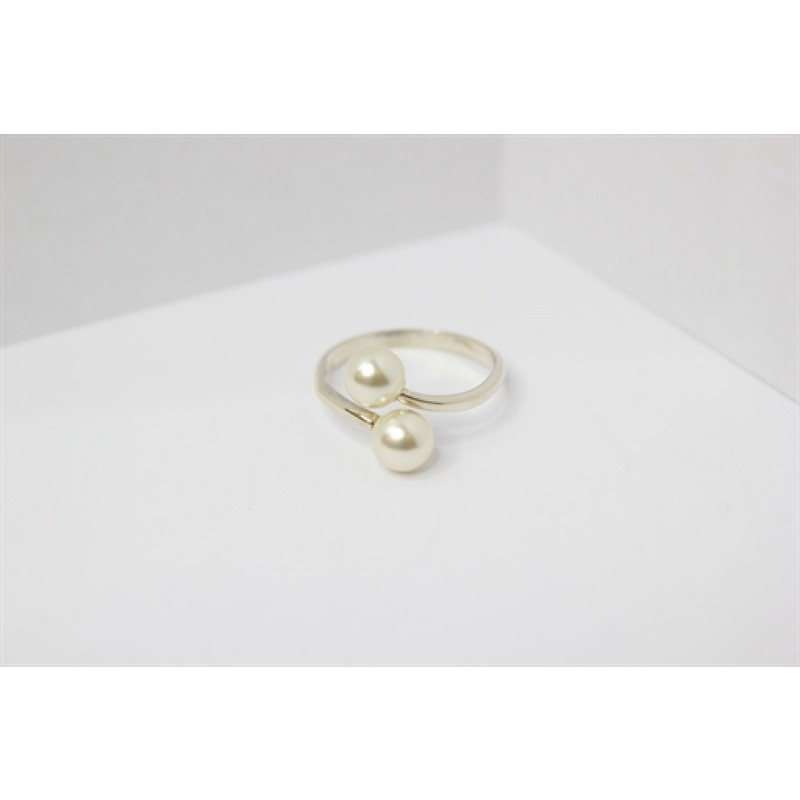 Sølv ring m. 2 perler