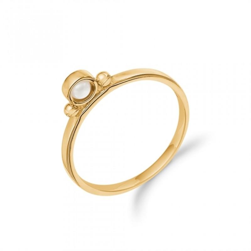 AAGAARD 8 kt rød guld ring, perle