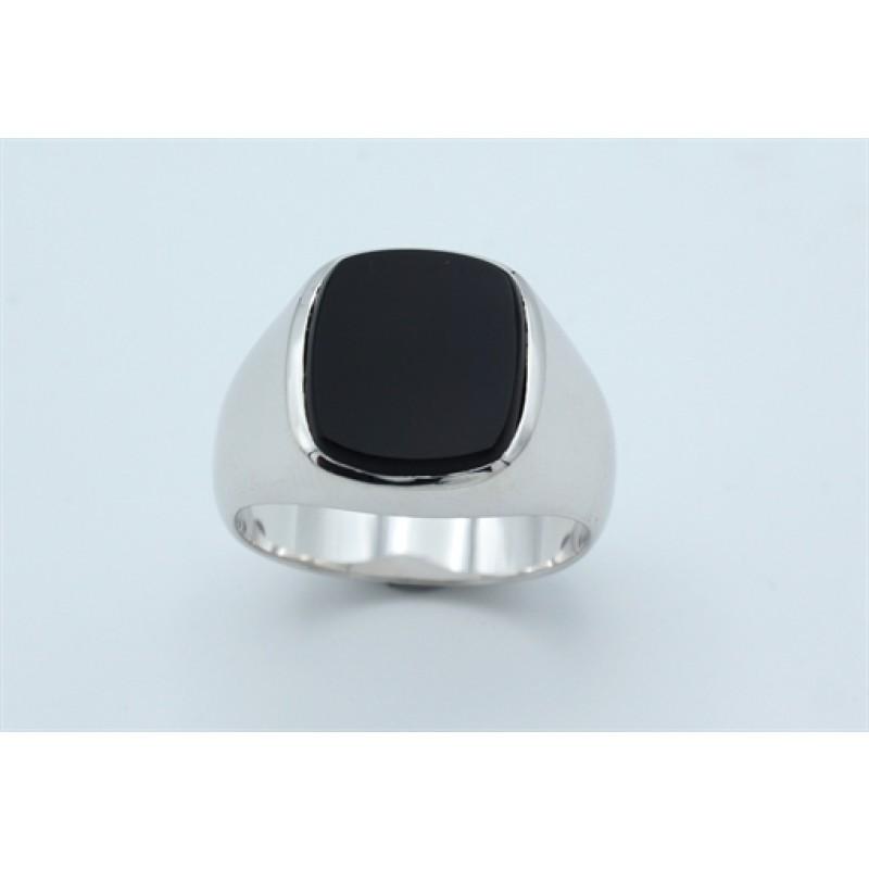 Classic ring, onyx, sølv
