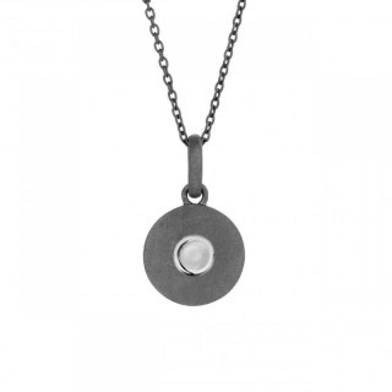 Raw oxyderet halskæde med sølv prik