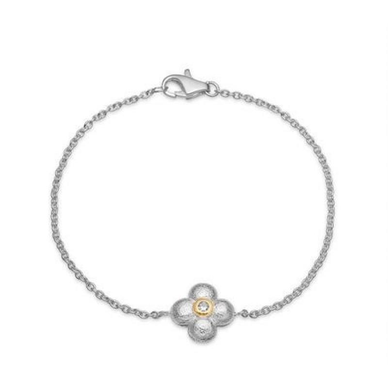 Sølv armlænke fra Aagaard med zirk. og blomst