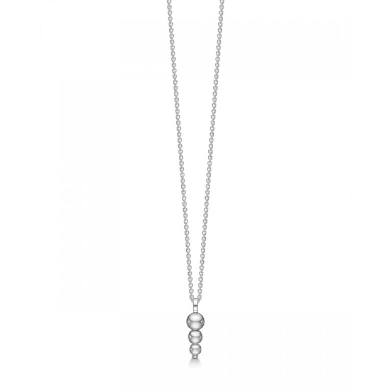 Moderne sølv halskæde med kugler, Aagaard