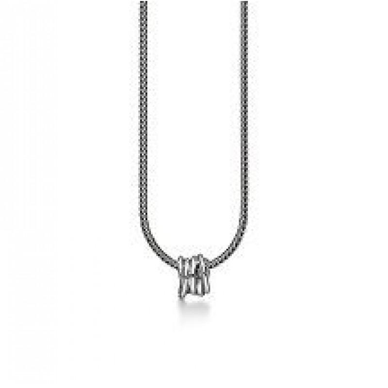 Aagaard halskæde i sølv, med snoet vedhæng