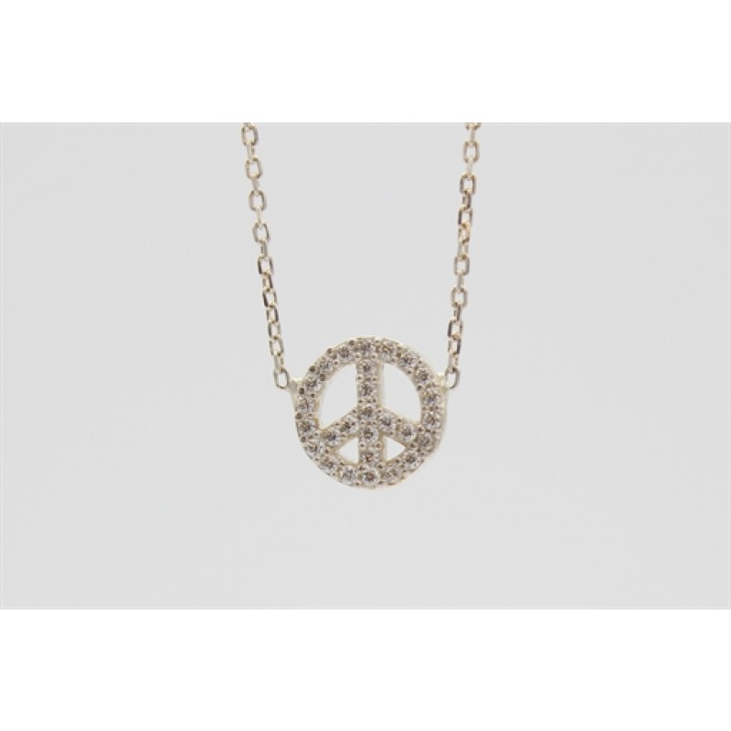 Sølv halskæde med peacetegn og syn. zirk.