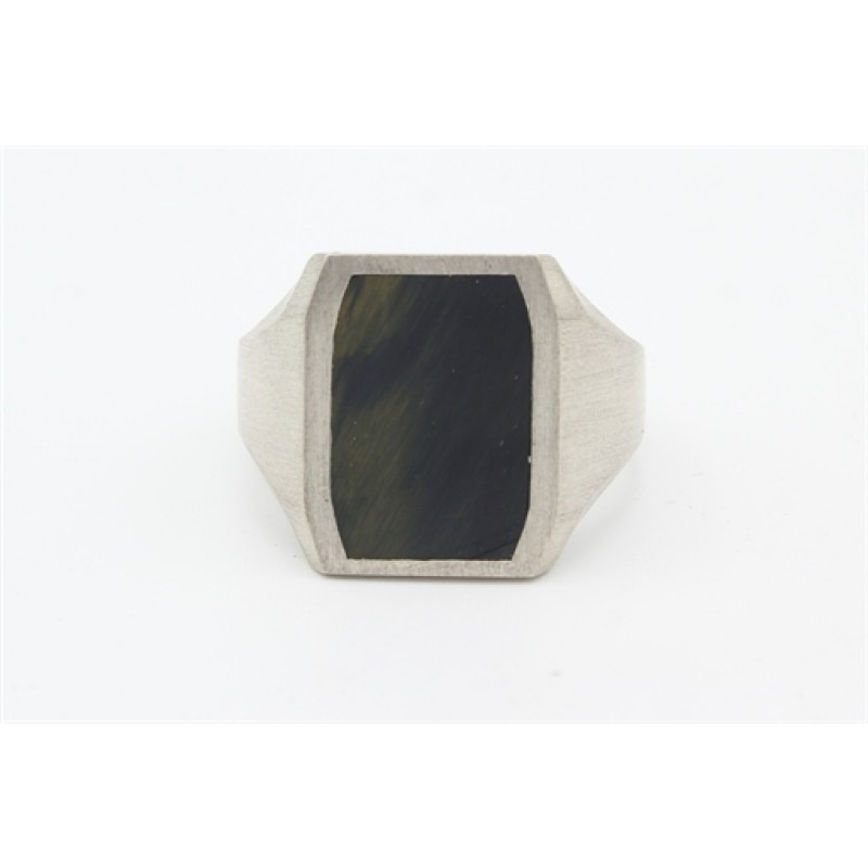 Sølv ring med grønt ørneøje fra Aagaard
