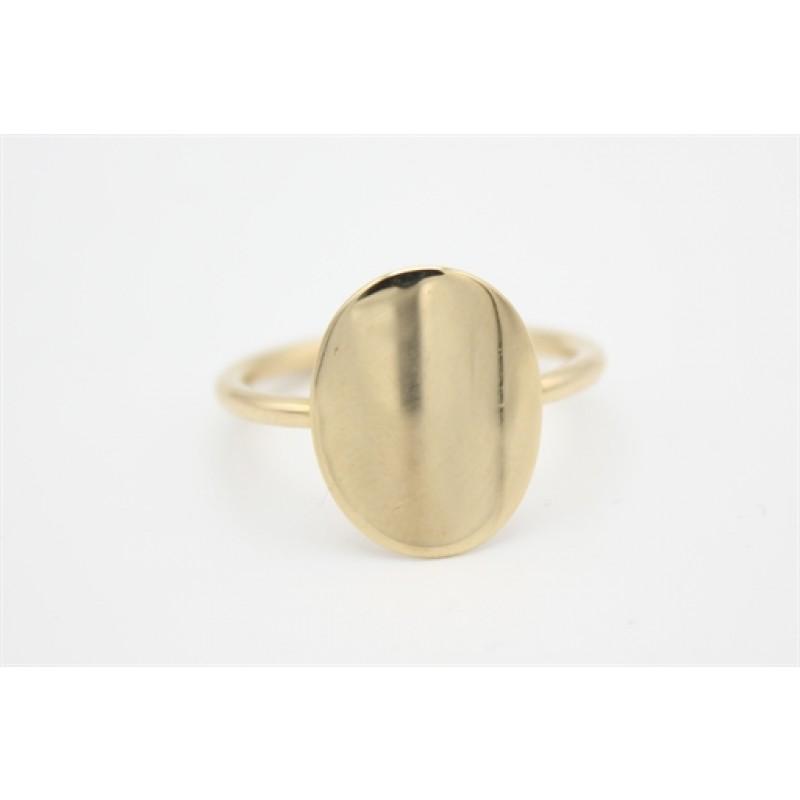 14 kt rødguld ring fra Aagaard med oval plade