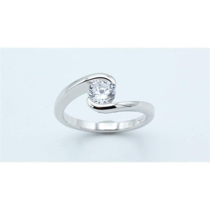 Classic ring, zirk., sølv