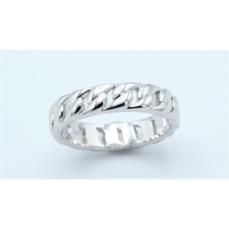 Braid ring, panser, sølv