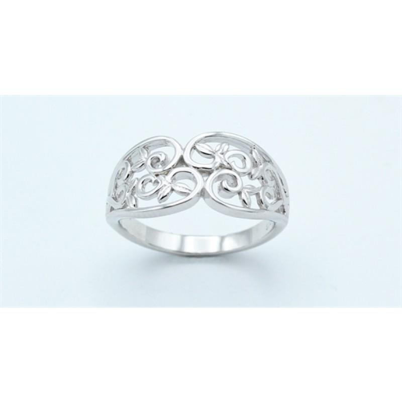 Flower ring, bred, sølv