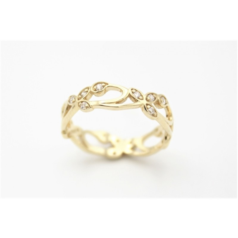 Flower 8 kt ring, zirk.