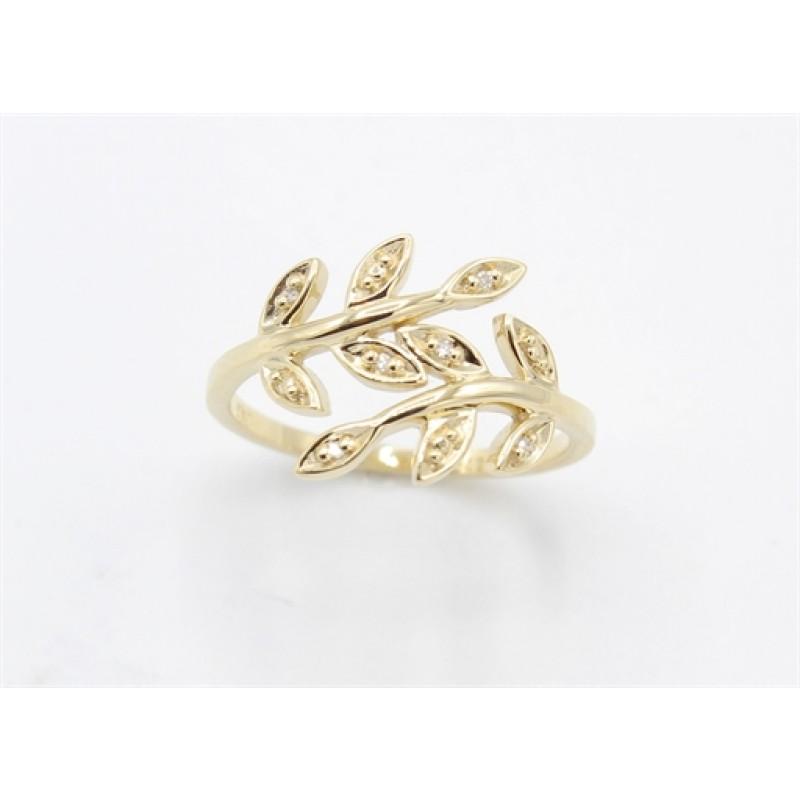 Leaf 8 kt rødguld ring