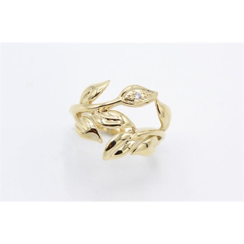 Leaf 8 kt rødguld ring, zirkonia