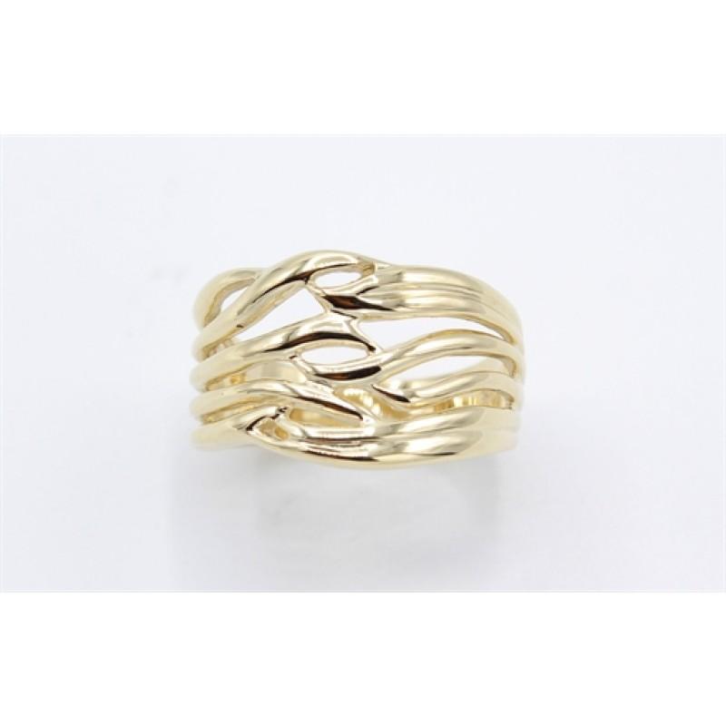 Waves 8 kt rødguld ring, bred