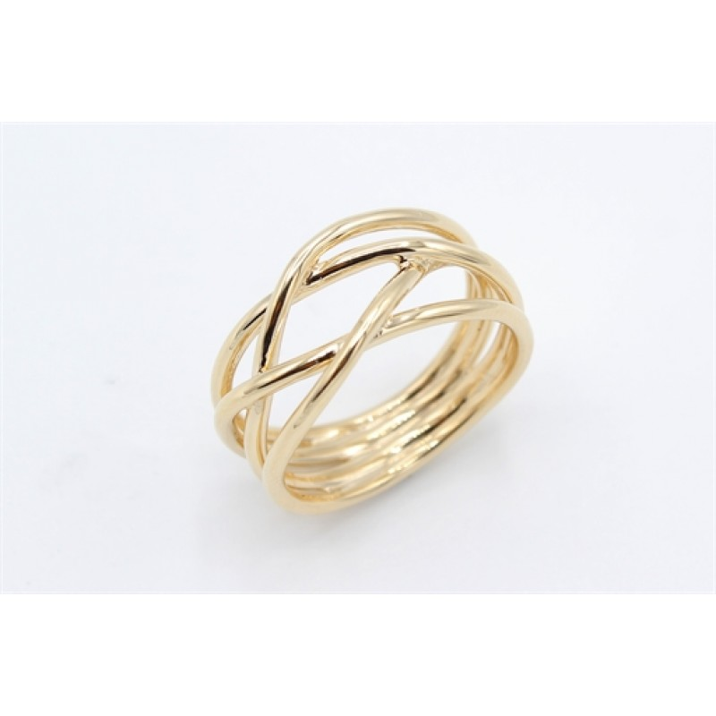 Lines 14 kt ring, bred