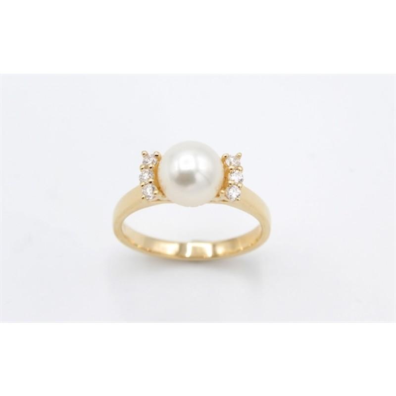 Pearl 14 kt ring, brill.