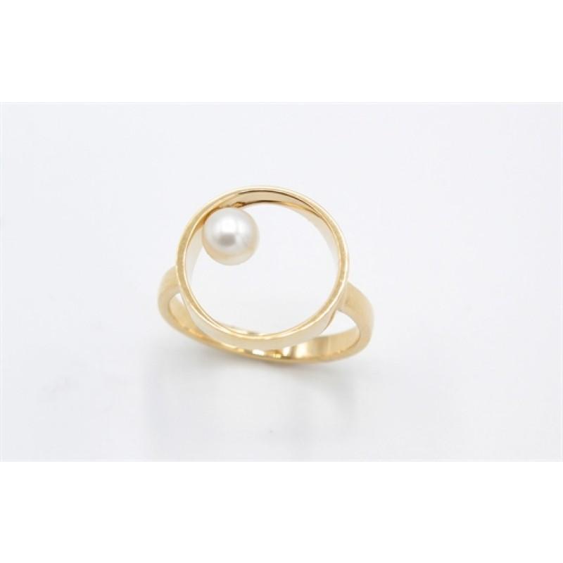 Pearl 14 kt ring, rund