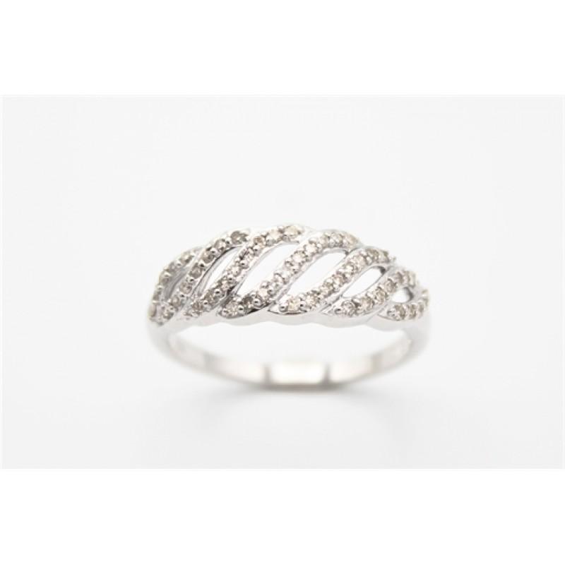 Waves 8 kt ring, brill. hvidguld