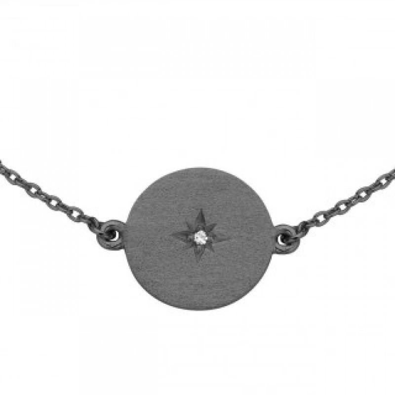 North Star sortrhodineret armbånd