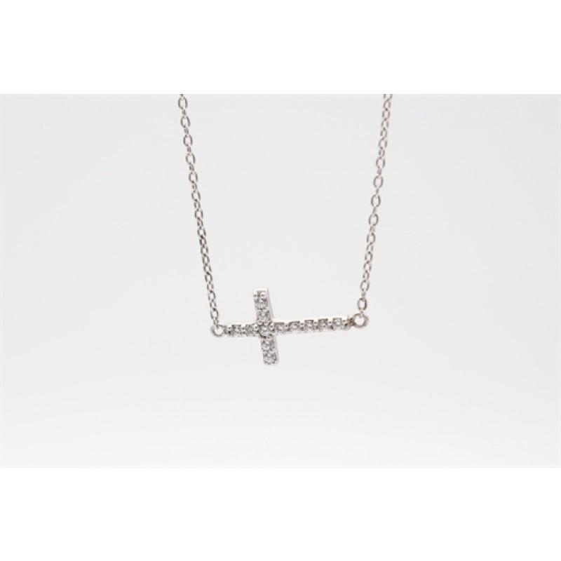 Aagaard sølv halskæde, kors m. syn. zirk.