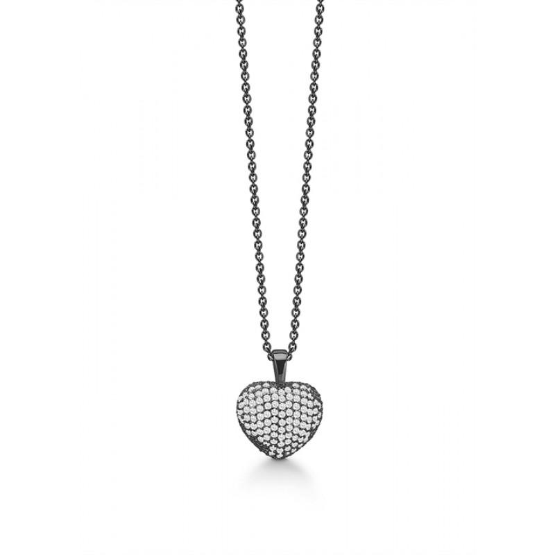 Smuk sort rhodineret halskæde med hjerte, Aagaard