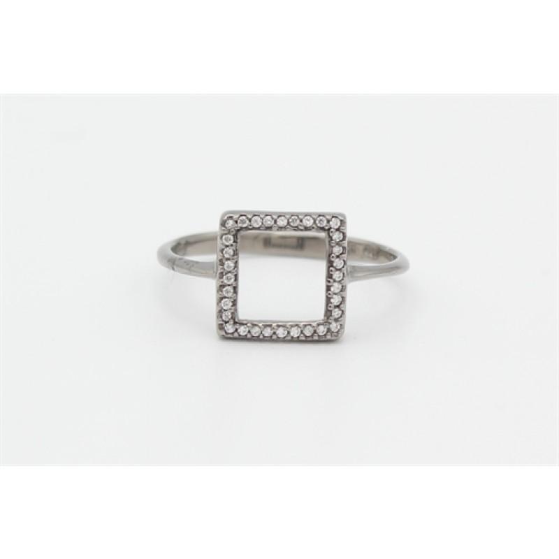 Sort rhodineret ring, firkant med zirk.
