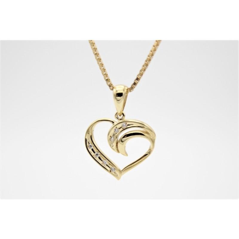 Hearts 14 kt halskæde, swirll