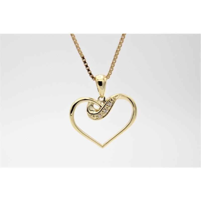 Hearts 8 kt halskæde, zirkoner