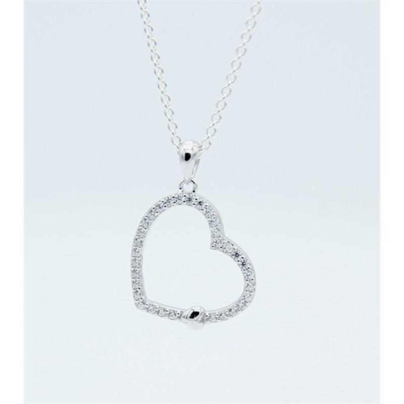 Hearts halskæde, zirk., sølv