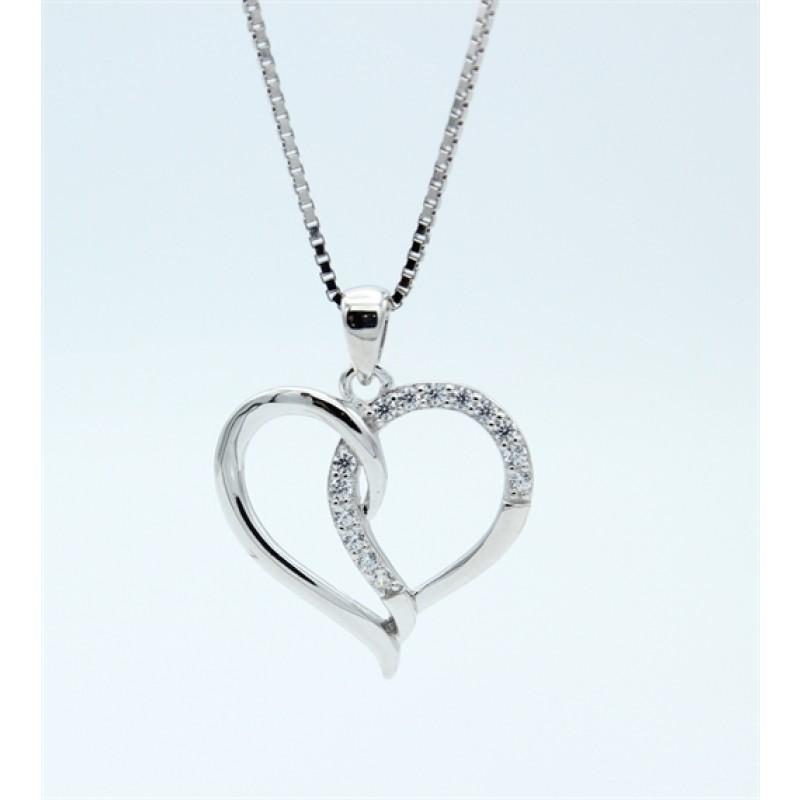 Hearts halskæde, stor, sølv