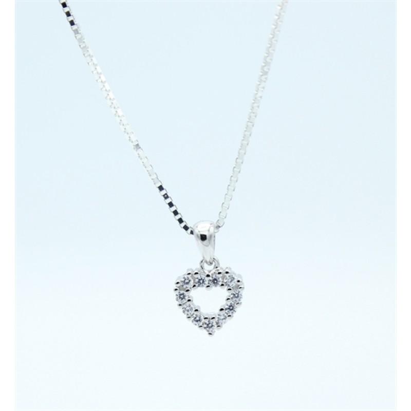 Hearts halskæde, zirkoner, sølv