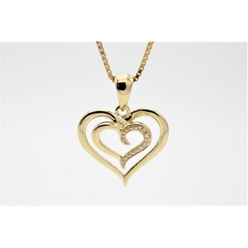 Hearts 8 kt halskæde, brill.