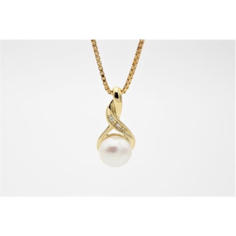 Pearl 8 kt halskæde, 3 brill.