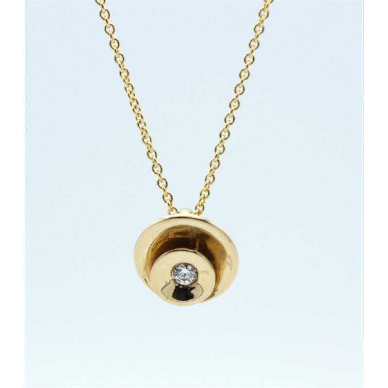 Circle Diamond 14 kt halskæde