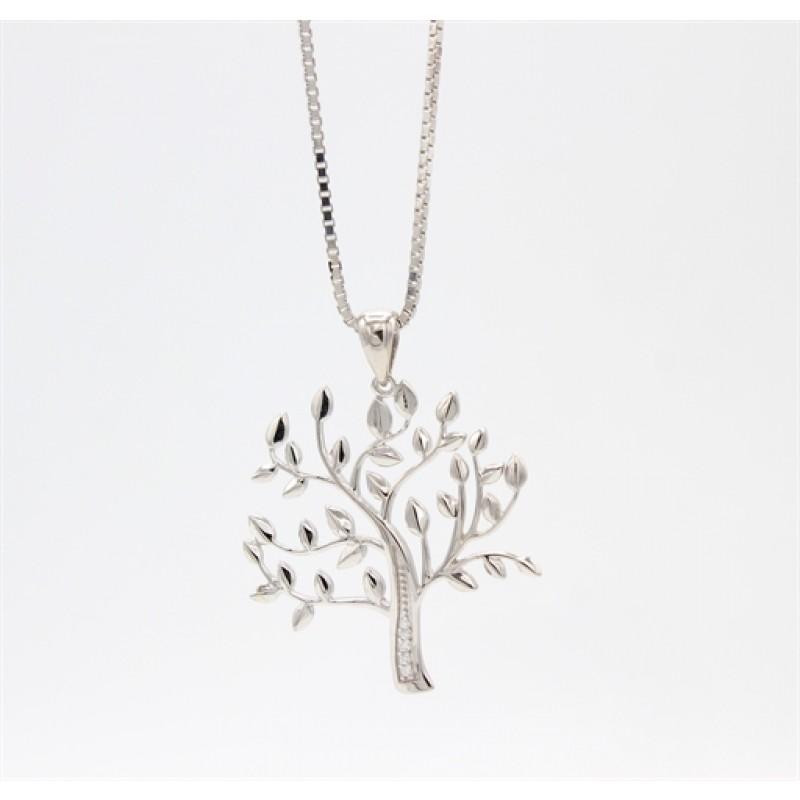 Tree of Life stor sølv halskæde