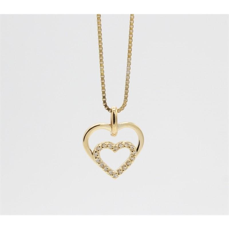 Hearts 8 kt halskæde, dobbelt m. zirk.