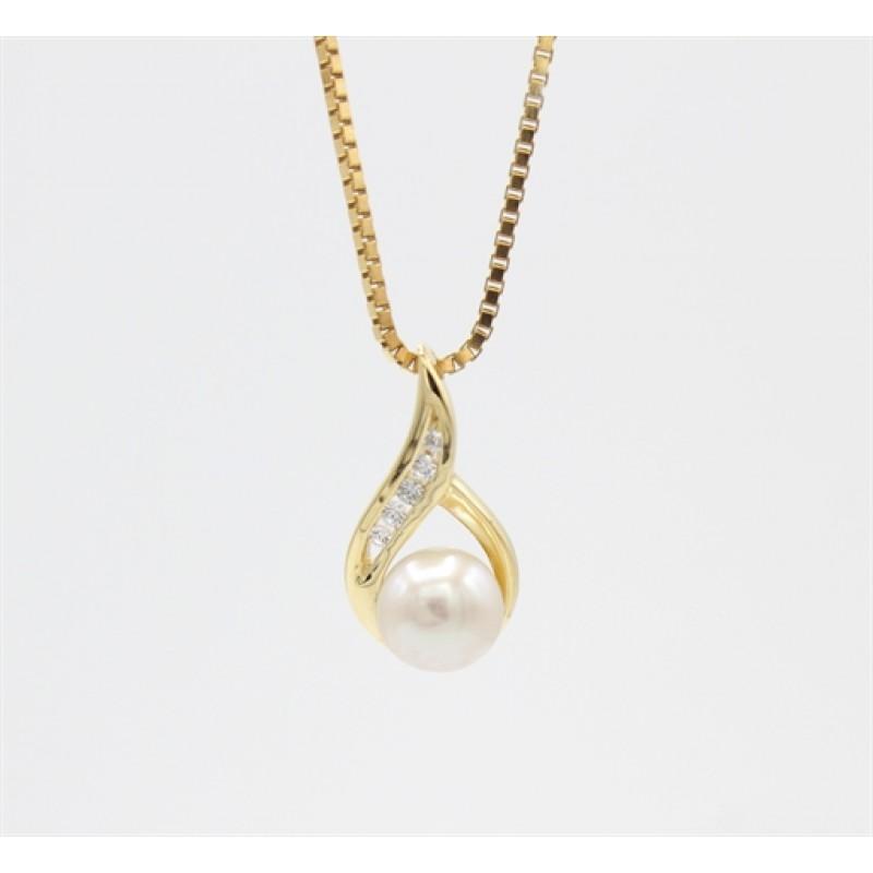 Pearl 8 kt halskæde, swing