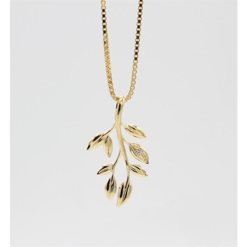 Leaf 8 kt halskæde