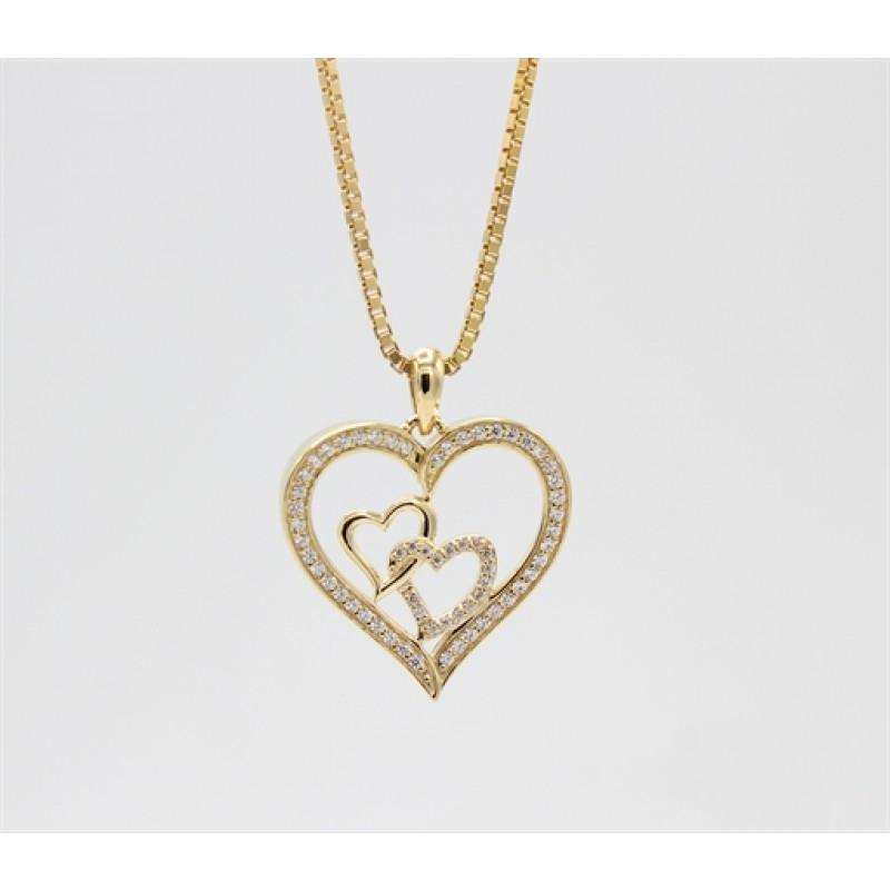 Hearts 8 kt halskæde, tre hjerter